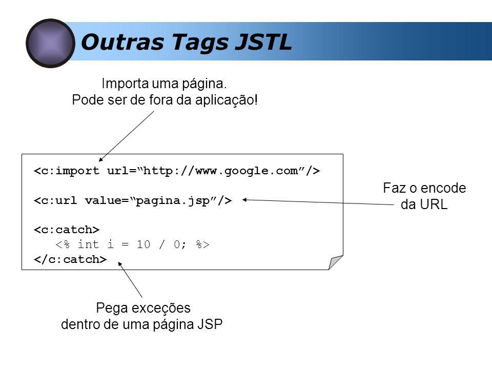 Outras Tags JSTL Importa uma página. Pode ser de fora da aplicação! Faz o encode da URL Pega exceções dentro de uma página JSP