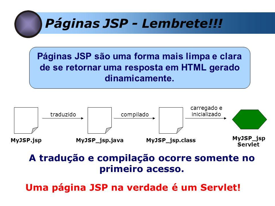 Páginas JSP - Lembrete!!! Páginas JSP são uma forma mais limpa e clara de se retornar uma resposta em HTML gerado dinamicamente. MyJSP.jspMyJSP_jsp.ja