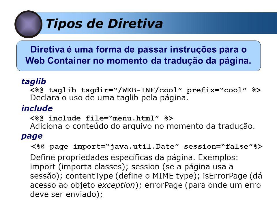 Tipos de Diretiva page Diretiva é uma forma de passar instruções para o Web Container no momento da tradução da página. taglib Declara o uso de uma ta