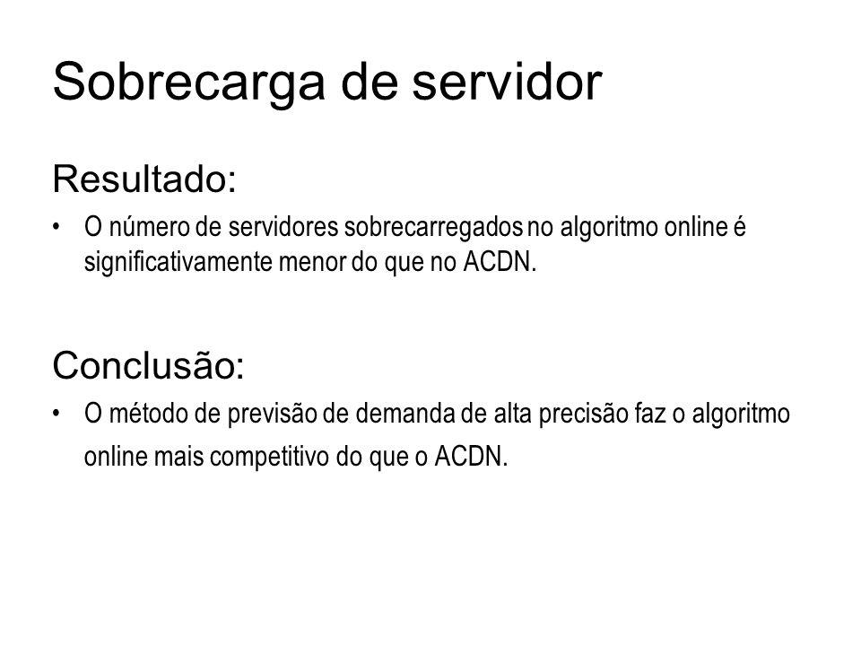 Sobrecarga de servidor Resultado: O número de servidores sobrecarregados no algoritmo online é significativamente menor do que no ACDN. Conclusão: O m