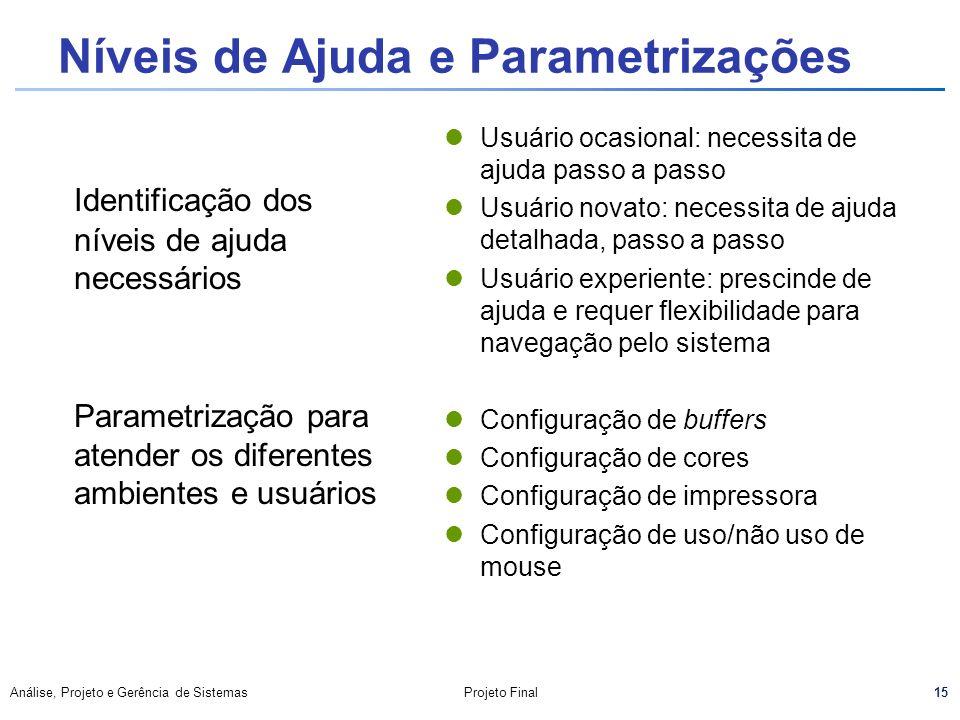 15 Análise, Projeto e Gerência de SistemasProjeto Final Níveis de Ajuda e Parametrizações Identificação dos níveis de ajuda necessários Parametrização