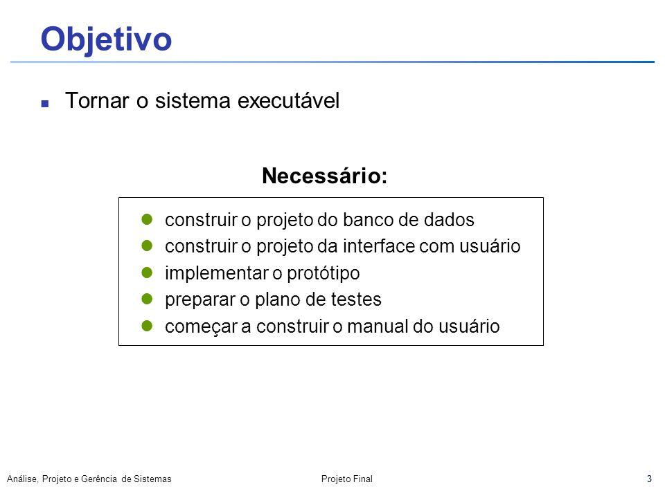 44 Análise, Projeto e Gerência de SistemasProjeto Final Documentação Gerada Implementação Nomenclatura utilizada Controle de Concorrência Controle de Acesso Teste Plano de Teste Glossário Anexos + Manual do Usuário