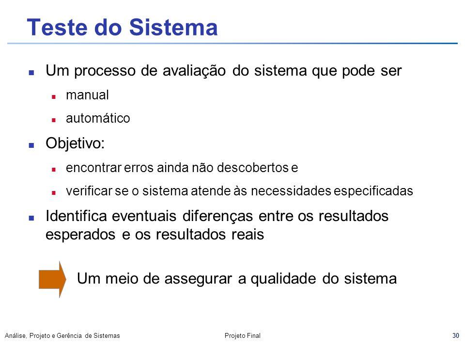 30 Análise, Projeto e Gerência de SistemasProjeto Final Teste do Sistema Um processo de avaliação do sistema que pode ser n manual n automático Objeti
