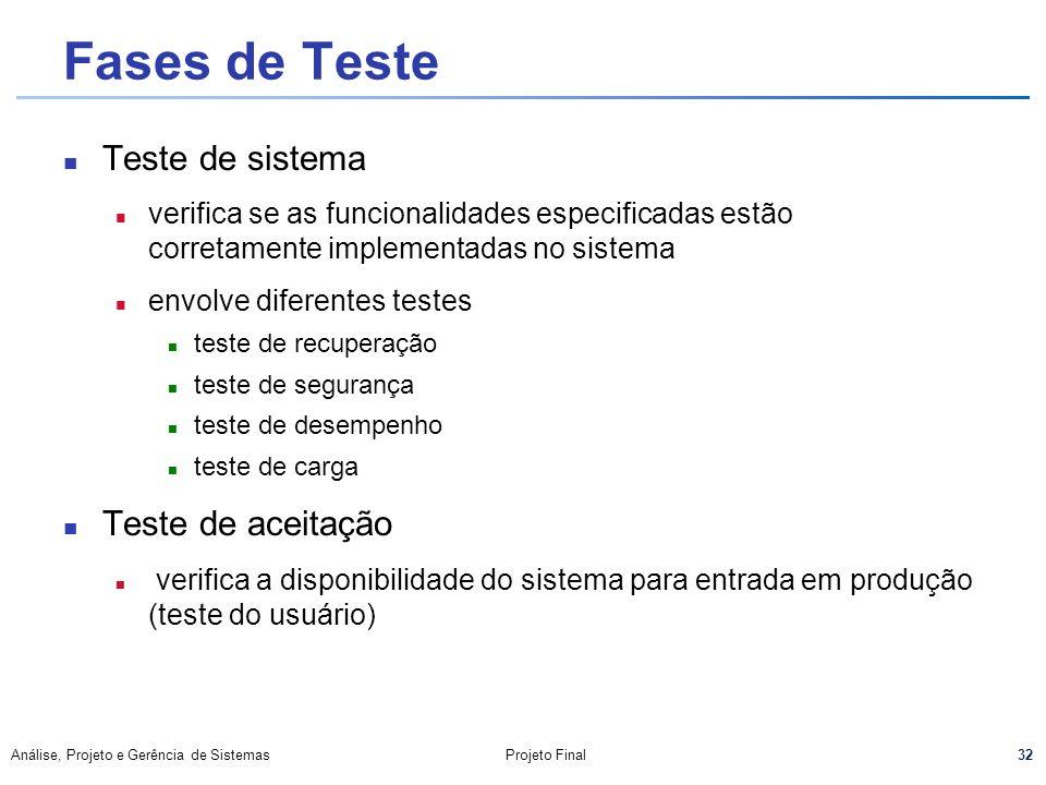32 Análise, Projeto e Gerência de SistemasProjeto Final Fases de Teste Teste de sistema n verifica se as funcionalidades especificadas estão corretame