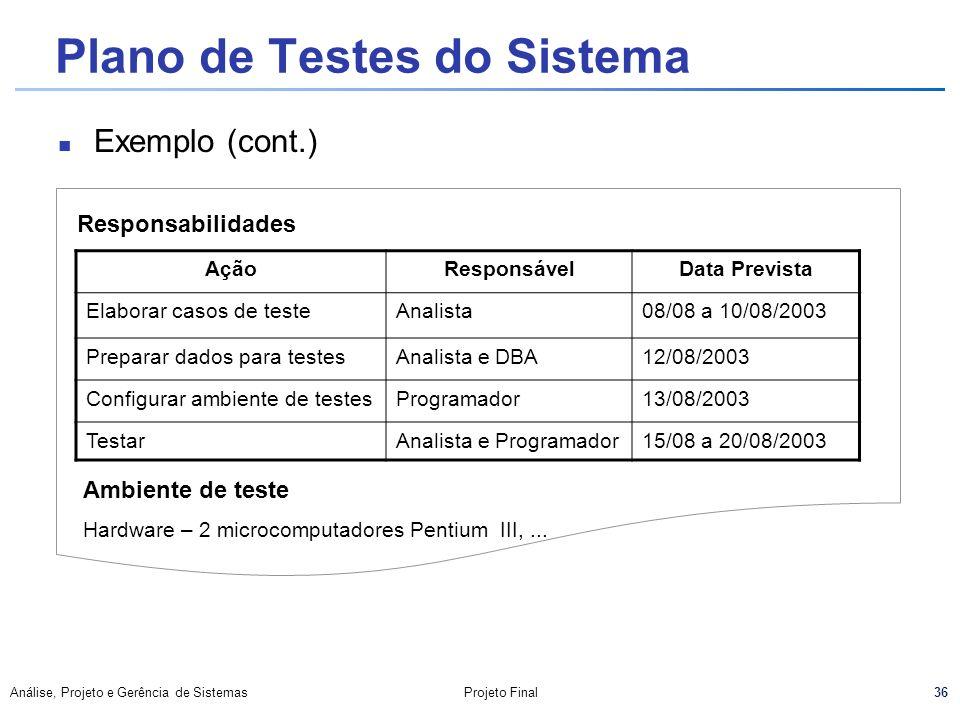 36 Análise, Projeto e Gerência de SistemasProjeto Final Plano de Testes do Sistema Exemplo (cont.) Responsabilidades AçãoResponsávelData Prevista Elab