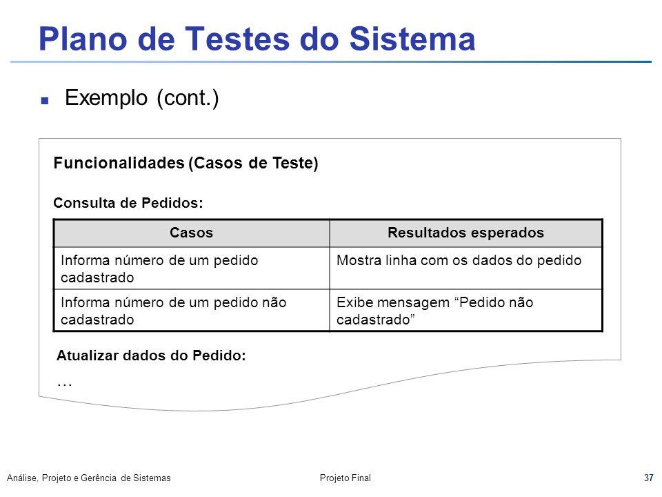 37 Análise, Projeto e Gerência de SistemasProjeto Final Plano de Testes do Sistema Exemplo (cont.) Funcionalidades (Casos de Teste) Consulta de Pedido