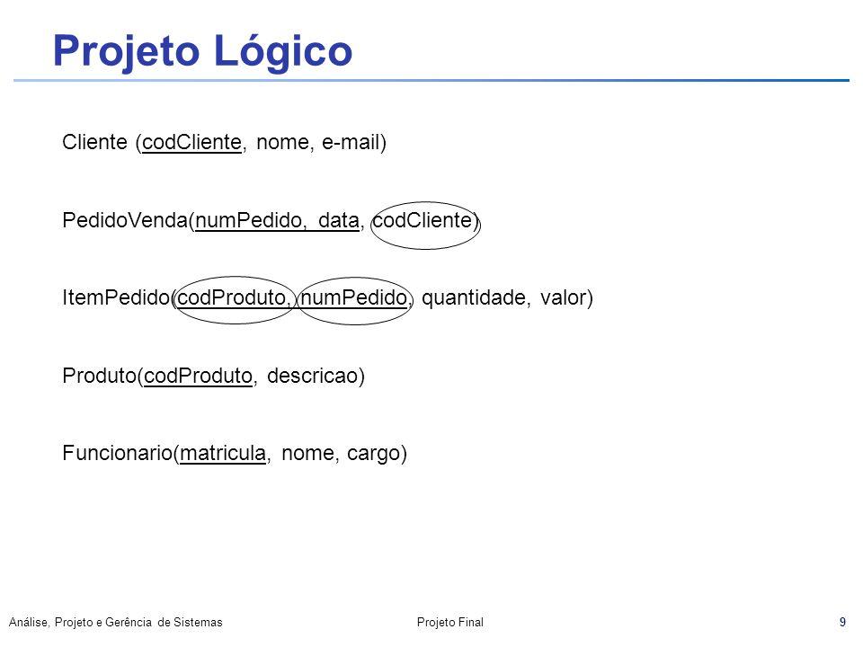 9 Análise, Projeto e Gerência de SistemasProjeto Final Projeto Lógico Cliente (codCliente, nome, e-mail) PedidoVenda(numPedido, data, codCliente) Item