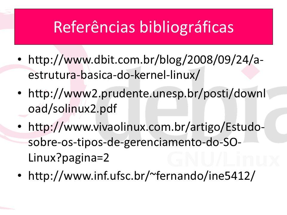 Referências bibliográficas http://www.dbit.com.br/blog/2008/09/24/a- estrutura-basica-do-kernel-linux/ http://www2.prudente.unesp.br/posti/downl oad/s