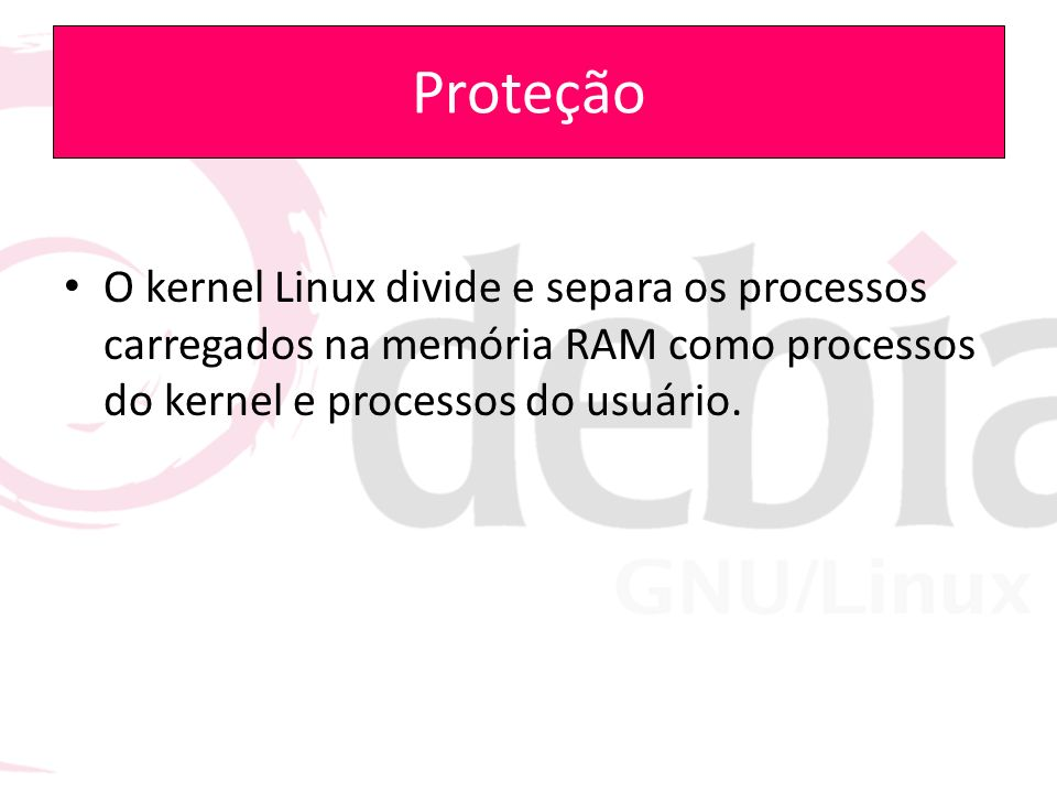 Proteção O kernel Linux divide e separa os processos carregados na memória RAM como processos do kernel e processos do usuário.