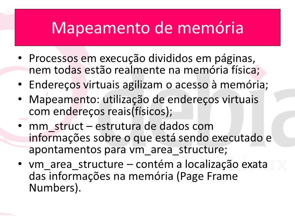 Mapeamento de memória Processos em execução divididos em páginas, nem todas estão realmente na memória física; Endereços virtuais agilizam o acesso à