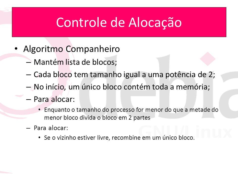 Controle de Alocação Algoritmo Companheiro – Mantém lista de blocos; – Cada bloco tem tamanho igual a uma potência de 2; – No início, um único bloco c