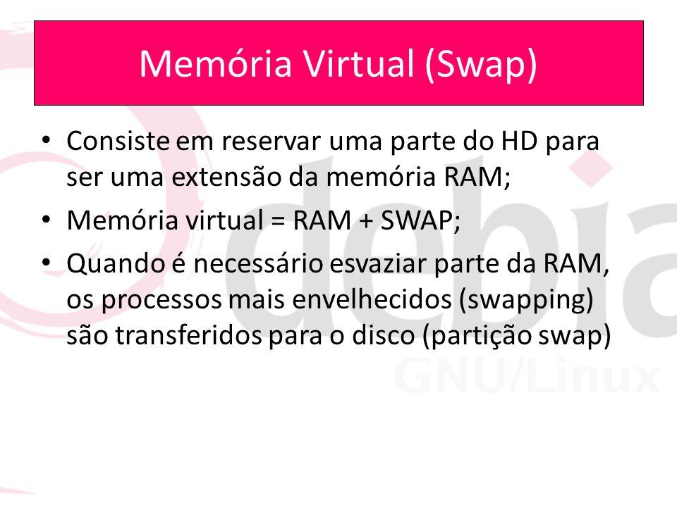 Memória Virtual (Swap) Consiste em reservar uma parte do HD para ser uma extensão da memória RAM; Memória virtual = RAM + SWAP; Quando é necessário es