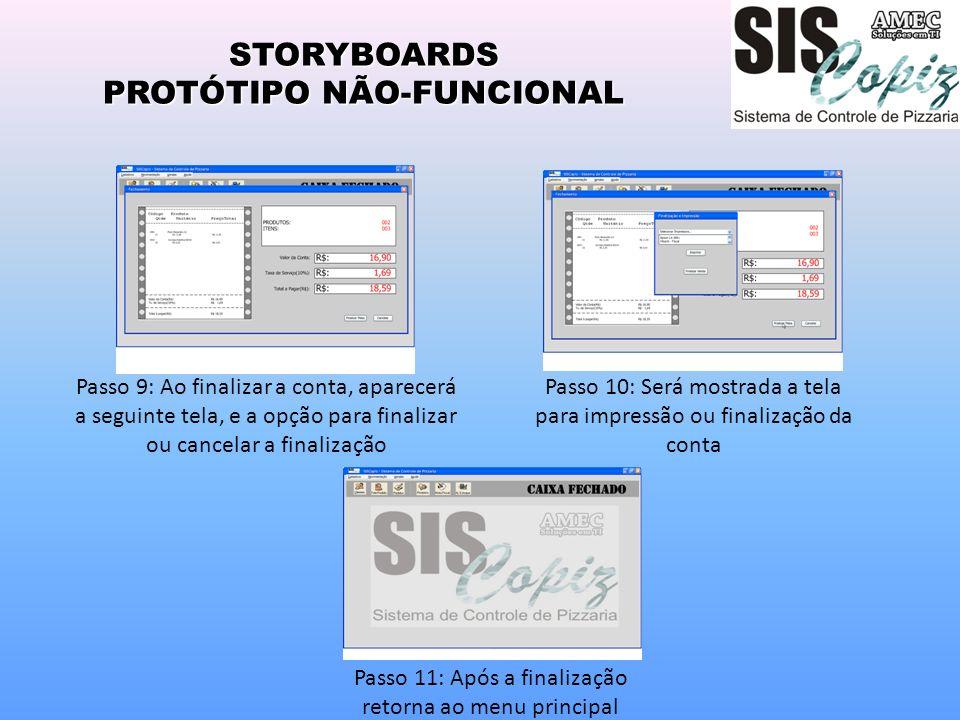 STORYBOARDS PROTÓTIPO NÃO-FUNCIONAL Passo 10: Será mostrada a tela para impressão ou finalização da conta Passo 11: Após a finalização retorna ao menu