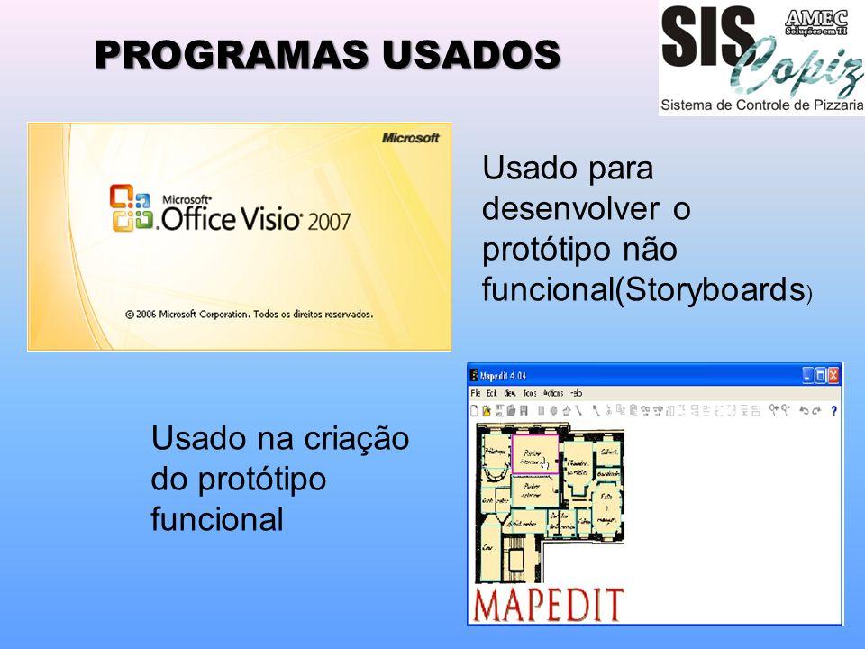 PROGRAMAS USADOS Usado para desenvolver o protótipo não funcional(Storyboards ) Usado na criação do protótipo funcional