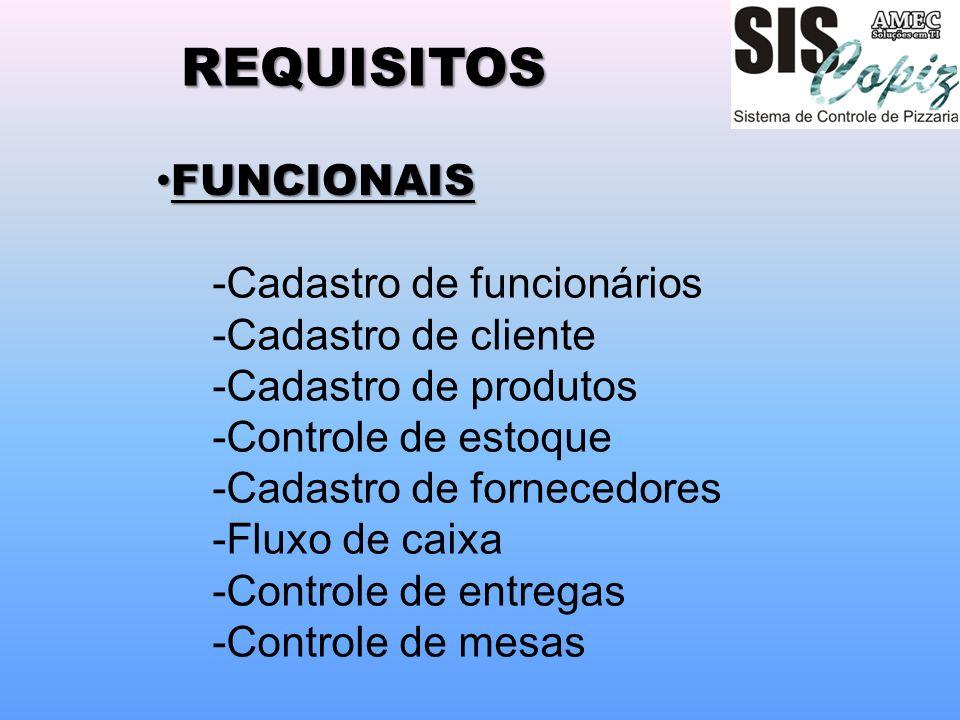 REQUISITOS -Cadastro de funcionários -Cadastro de cliente -Cadastro de produtos -Controle de estoque -Cadastro de fornecedores -Fluxo de caixa -Contro