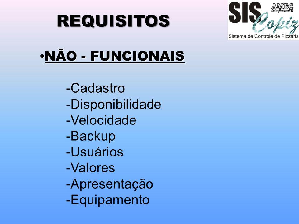 REQUISITOS -Cadastro -Disponibilidade -Velocidade -Backup -Usuários -Valores -Apresentação -Equipamento NÃO - FUNCIONAIS NÃO - FUNCIONAIS