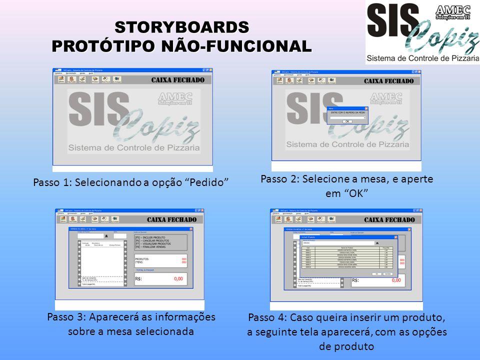 STORYBOARDS PROTÓTIPO NÃO-FUNCIONAL Passo 1: Selecionando a opção Pedido Passo 2: Selecione a mesa, e aperte em OK Passo 3: Aparecerá as informações s