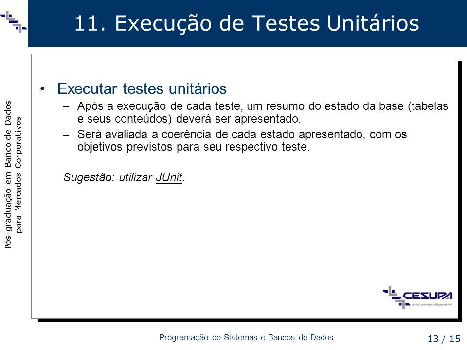 Pós-graduação em Banco de Dados para Mercados Corporativos Programação de Sistemas e Bancos de Dados 13 / 15 11. Execução de Testes Unitários Executar