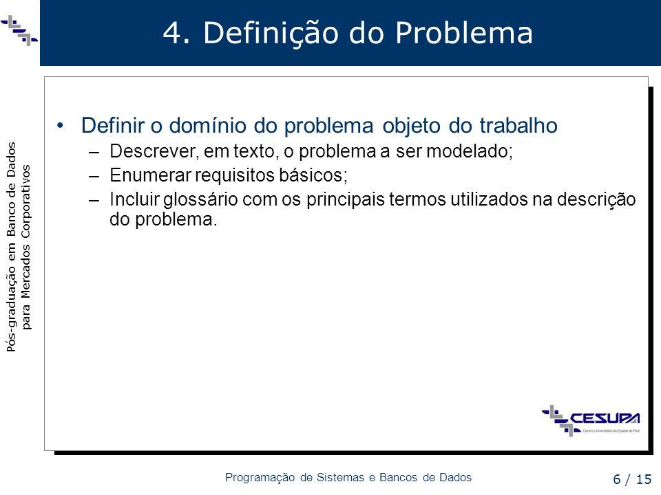 Pós-graduação em Banco de Dados para Mercados Corporativos Programação de Sistemas e Bancos de Dados 6 / 15 4. Definição do Problema Definir o domínio