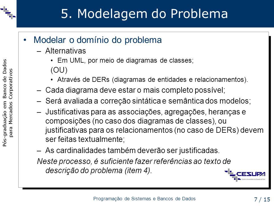 Pós-graduação em Banco de Dados para Mercados Corporativos Programação de Sistemas e Bancos de Dados 7 / 15 5. Modelagem do Problema Modelar o domínio