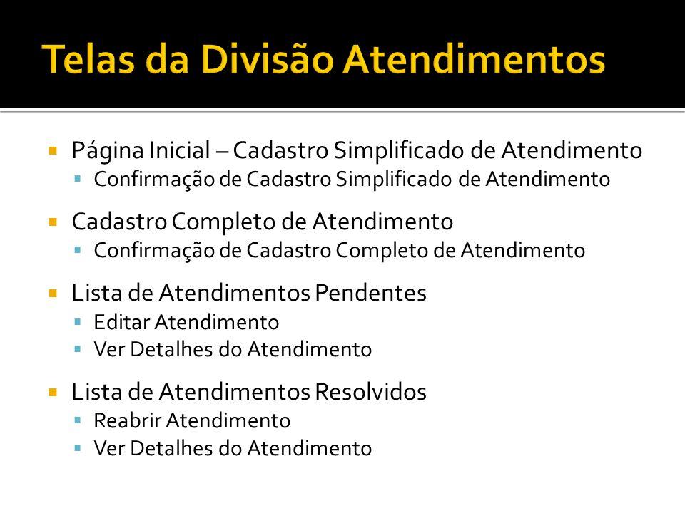 Página Inicial – Cadastro Simplificado de Atendimento Confirmação de Cadastro Simplificado de Atendimento Cadastro Completo de Atendimento Confirmação