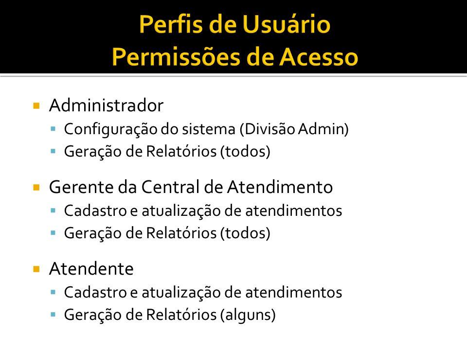 Administrador Configuração do sistema (Divisão Admin) Geração de Relatórios (todos) Gerente da Central de Atendimento Cadastro e atualização de atendi