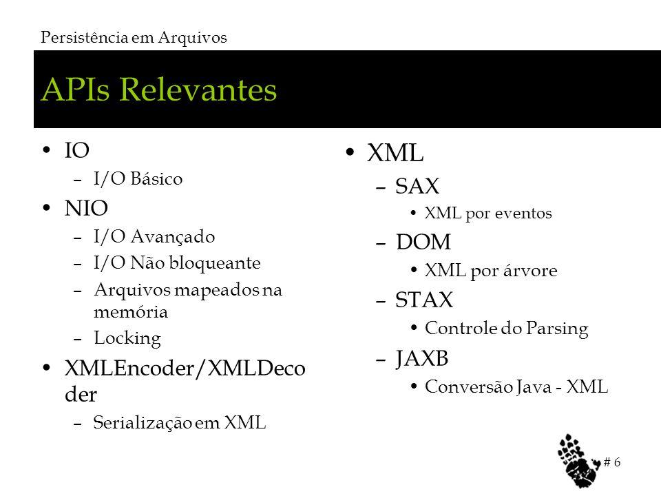 APIs Relevantes IO –I/O Básico NIO –I/O Avançado –I/O Não bloqueante –Arquivos mapeados na memória –Locking XMLEncoder/XMLDeco der –Serialização em XML XML –SAX XML por eventos –DOM XML por árvore –STAX Controle do Parsing –JAXB Conversão Java - XML Persistência em Arquivos # 6