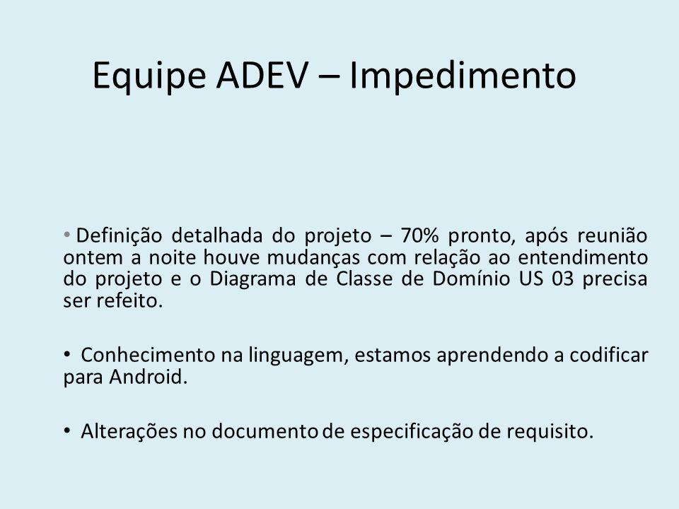 Equipe ADEV – Impedimento Definição detalhada do projeto – 70% pronto, após reunião ontem a noite houve mudanças com relação ao entendimento do projet