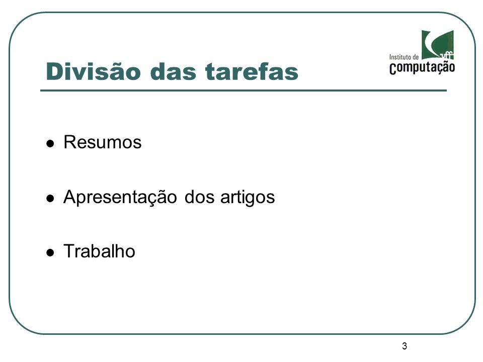 3 Divisão das tarefas Resumos Apresentação dos artigos Trabalho