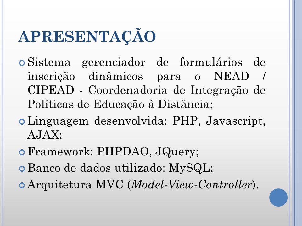 APRESENTAÇÃO Sistema gerenciador de formulários de inscrição dinâmicos para o NEAD / CIPEAD - Coordenadoria de Integração de Políticas de Educação à D