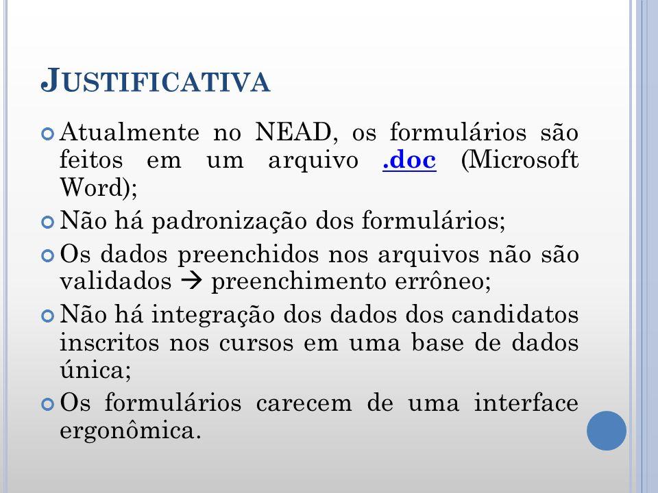 J USTIFICATIVA Atualmente no NEAD, os formulários são feitos em um arquivo.doc (Microsoft Word);.doc Não há padronização dos formulários; Os dados pre