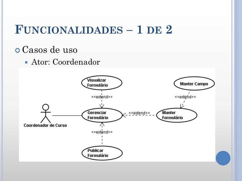 F UNCIONALIDADES – 1 DE 2 Casos de uso Ator: Coordenador