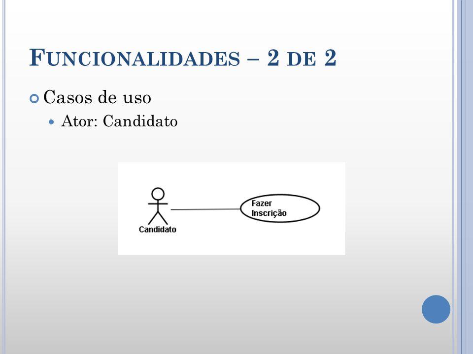 F UNCIONALIDADES – 2 DE 2 Casos de uso Ator: Candidato