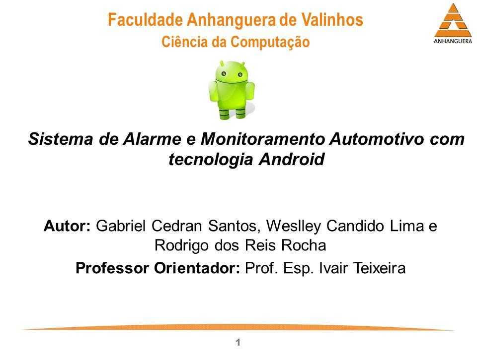 1 Autor: Gabriel Cedran Santos, Weslley Candido Lima e Rodrigo dos Reis Rocha Professor Orientador: Prof. Esp. Ivair Teixeira Sistema de Alarme e Moni