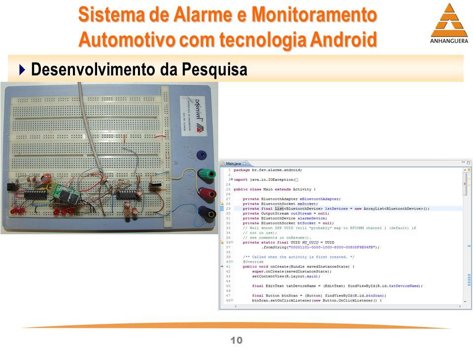 10 Sistema de Alarme e Monitoramento Automotivo com tecnologia Android Desenvolvimento da Pesquisa