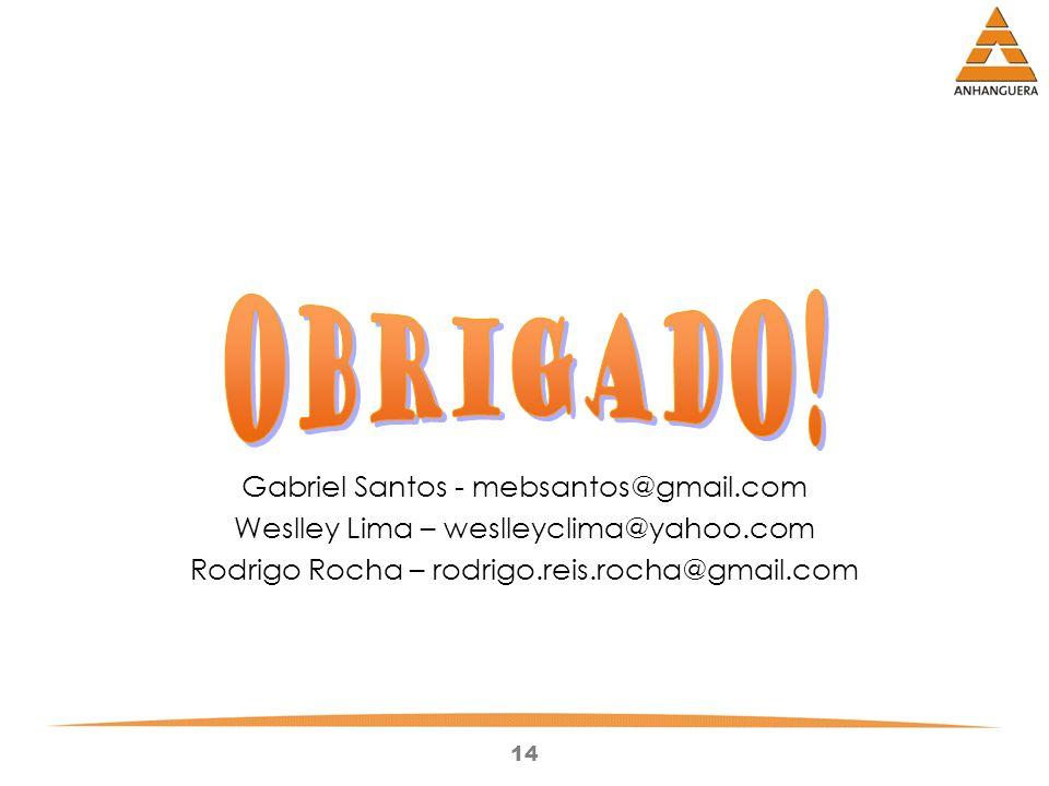 14 Gabriel Santos - mebsantos@gmail.com Weslley Lima – weslleyclima@yahoo.com Rodrigo Rocha – rodrigo.reis.rocha@gmail.com