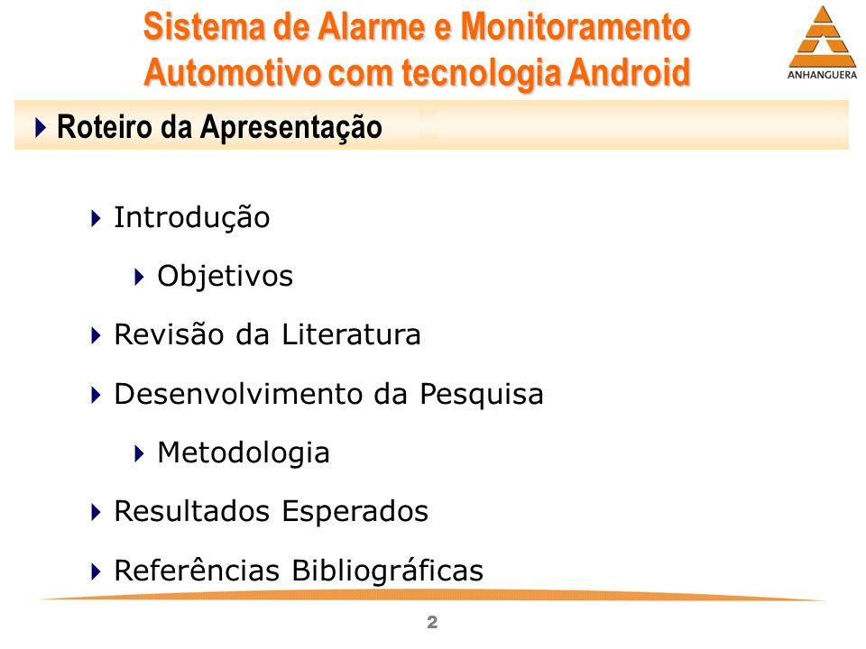 2 Sistema de Alarme e Monitoramento Automotivo com tecnologia Android Roteiro da Apresentação Introdução Objetivos Revisão da Literatura Desenvolvimen
