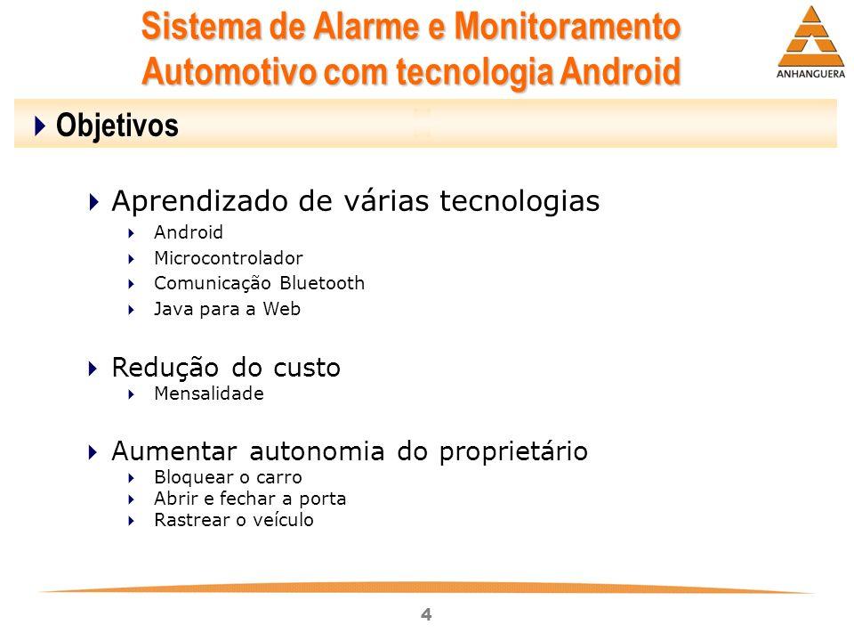 4 Sistema de Alarme e Monitoramento Automotivo com tecnologia Android Objetivos Aprendizado de várias tecnologias Android Microcontrolador Comunicação