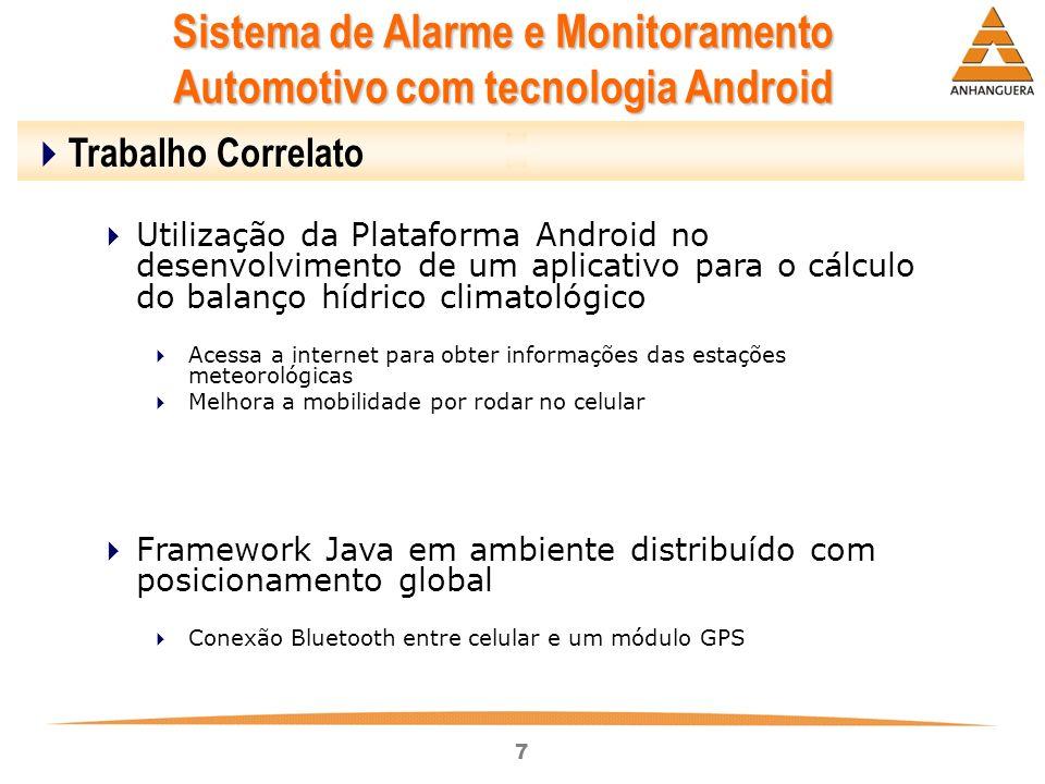 7 Sistema de Alarme e Monitoramento Automotivo com tecnologia Android Trabalho Correlato Utilização da Plataforma Android no desenvolvimento de um apl