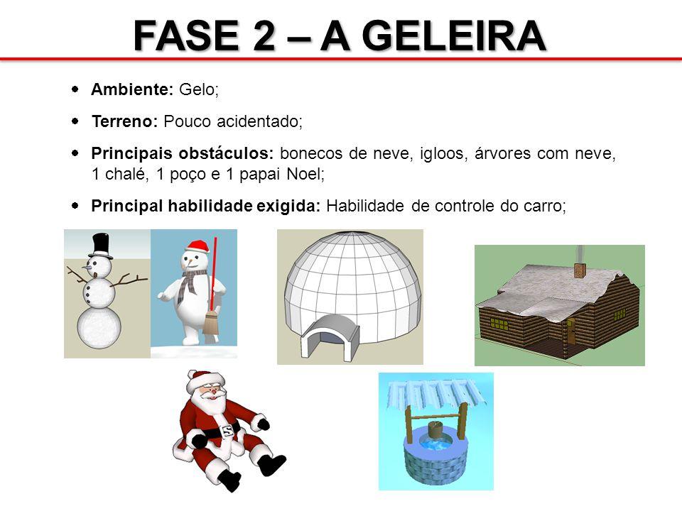 FASE 2 – A GELEIRA Ambiente: Gelo; Terreno: Pouco acidentado; Principais obstáculos: bonecos de neve, igloos, árvores com neve, 1 chalé, 1 poço e 1 pa