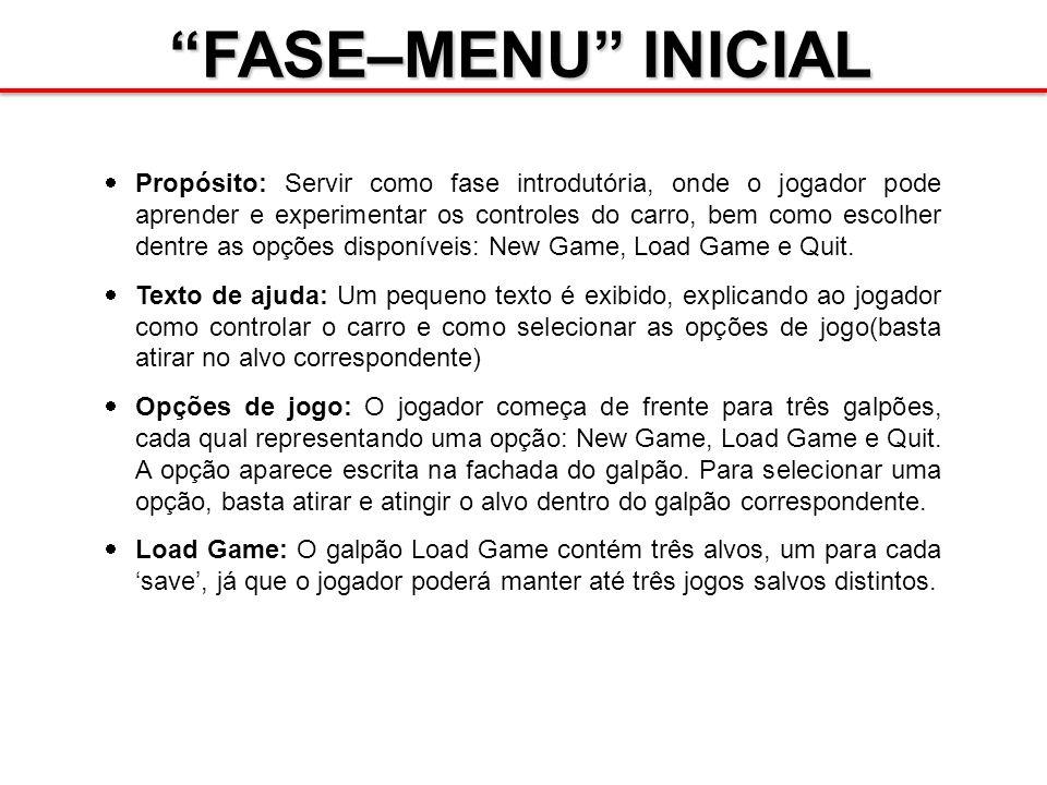 FASE–MENU INICIAL Propósito: Servir como fase introdutória, onde o jogador pode aprender e experimentar os controles do carro, bem como escolher dentre as opções disponíveis: New Game, Load Game e Quit.