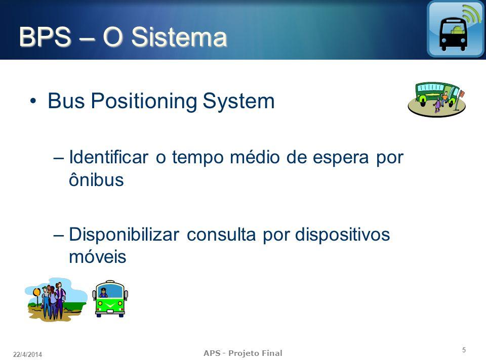 5 22/4/2014 APS - Projeto Final BPS – O Sistema Bus Positioning System –Identificar o tempo médio de espera por ônibus –Disponibilizar consulta por dispositivos móveis
