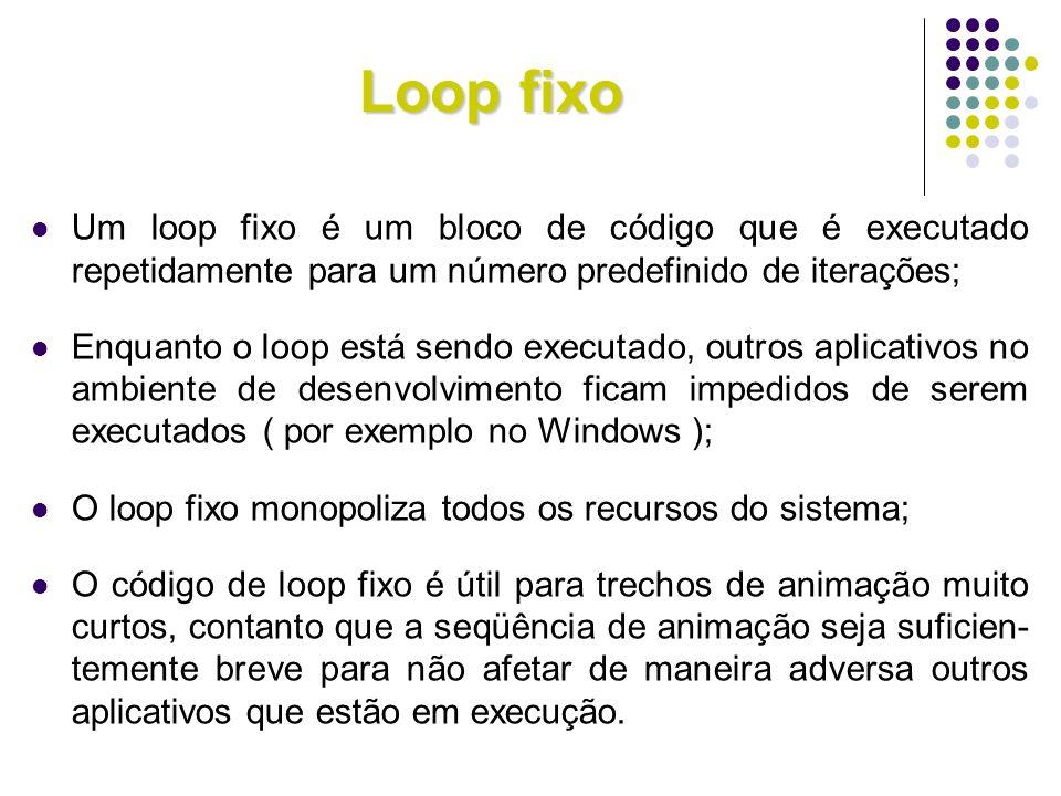 Loop fixo Um loop fixo é um bloco de código que é executado repetidamente para um número predefinido de iterações; Enquanto o loop está sendo executad