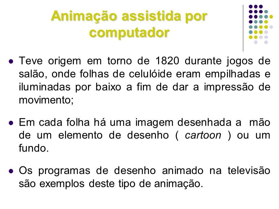 Animação assistida por computador Teve origem em torno de 1820 durante jogos de salão, onde folhas de celulóide eram empilhadas e iluminadas por baixo