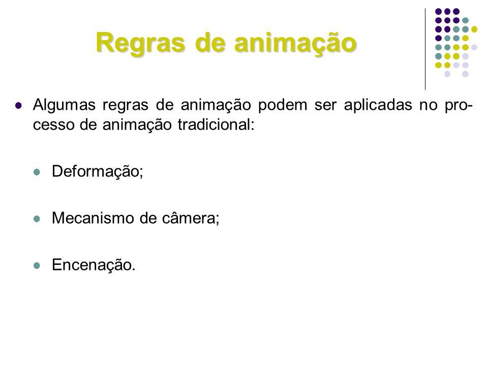 Regras de animação Algumas regras de animação podem ser aplicadas no pro- cesso de animação tradicional: Deformação; Mecanismo de câmera; Encenação.