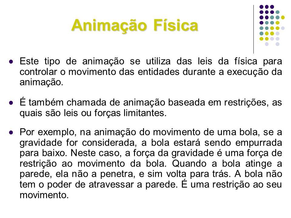 Animação Física Este tipo de animação se utiliza das leis da física para controlar o movimento das entidades durante a execução da animação. É também