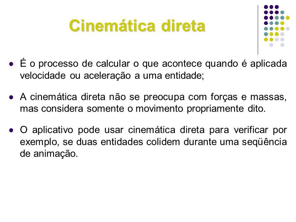 Cinemática direta É o processo de calcular o que acontece quando é aplicada velocidade ou aceleração a uma entidade; A cinemática direta não se preocu