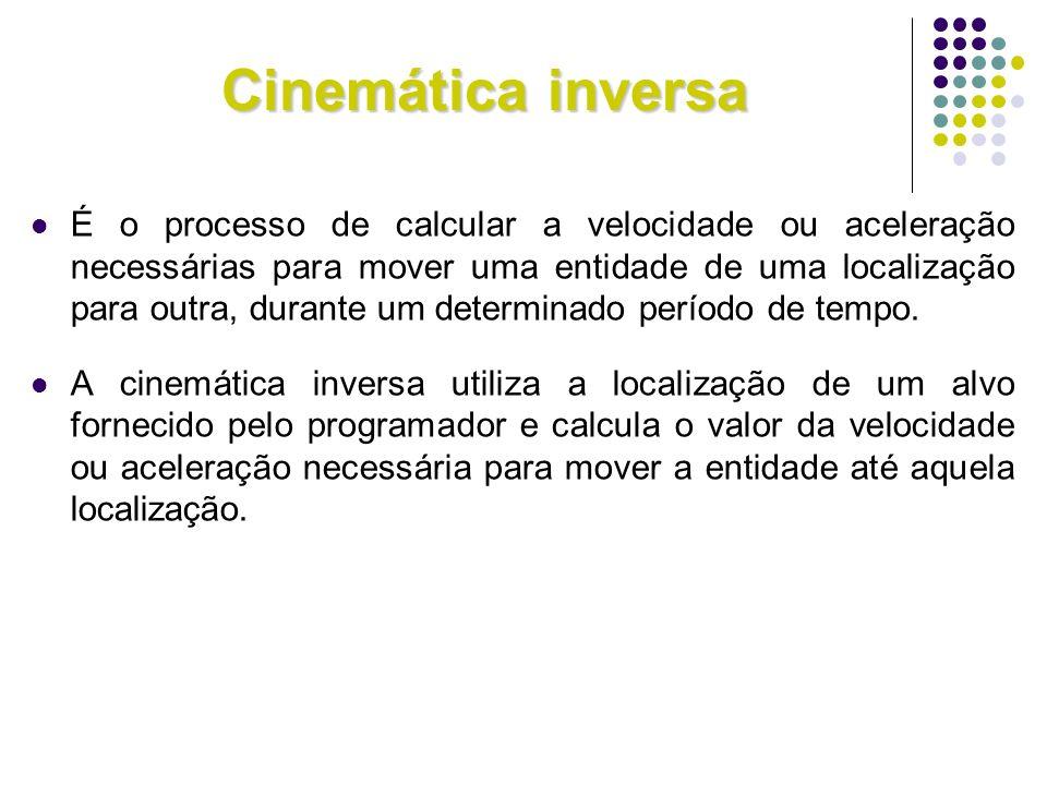 Cinemática inversa É o processo de calcular a velocidade ou aceleração necessárias para mover uma entidade de uma localização para outra, durante um d