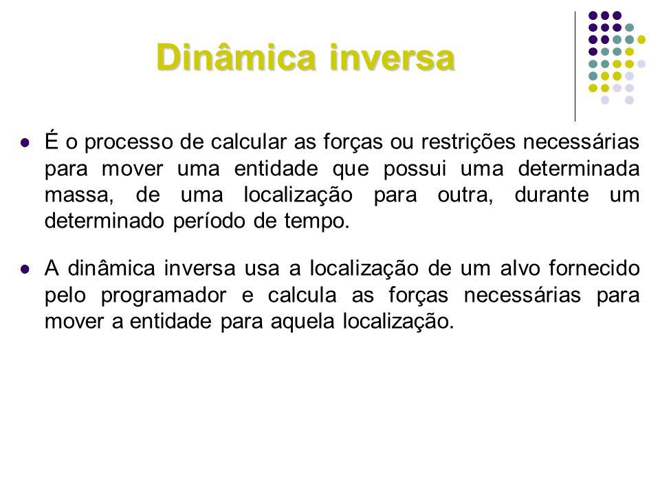 Dinâmica inversa É o processo de calcular as forças ou restrições necessárias para mover uma entidade que possui uma determinada massa, de uma localiz