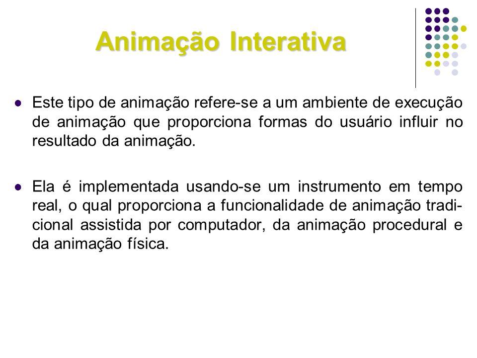 Animação Interativa Este tipo de animação refere-se a um ambiente de execução de animação que proporciona formas do usuário influir no resultado da an